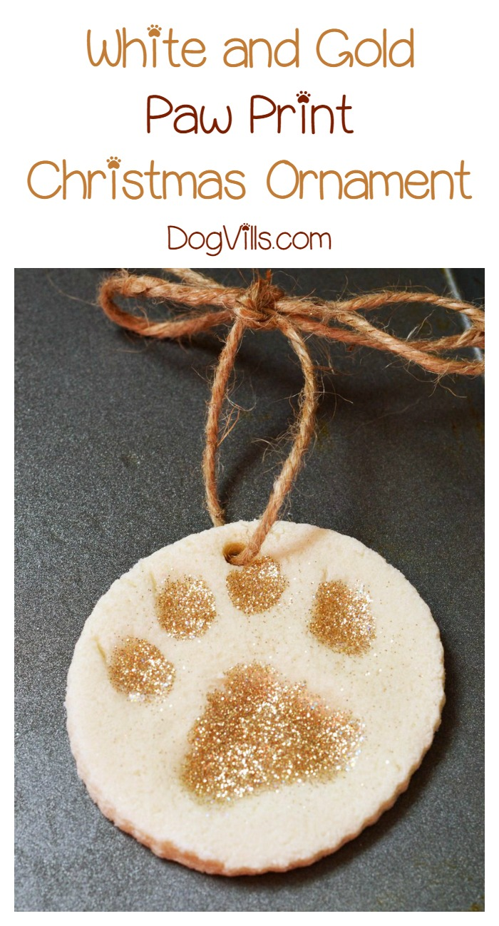 White and Gold Paw Print Christmas Ornament Craft