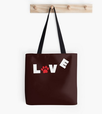 Tote bag with Love sign with paw imprint : perfect Christmas gift idea