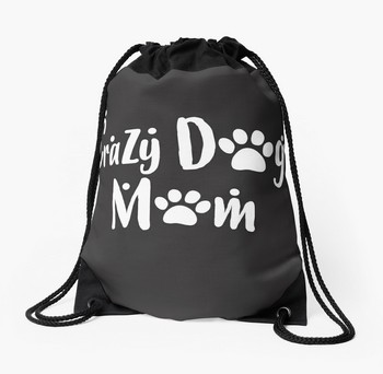Tote Bag with funny saying for dog moms: CRAZY DOG MOM. Great Christmas gift idea