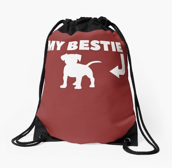 Tote bag with funny dog saying: My Bestie and a dog picture. Great Christmas gift idea