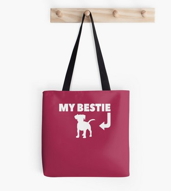 My Bestie saying with a dog picture on a cute tote bag, great gift idea for Christmas or any time of the year