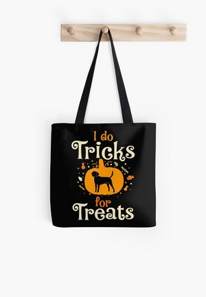 Trick or treat? No way! How about tricks FOR treats? This adorable Halloween-themed dog lovers design is perfect on a comfy t-shirt or as home decor!