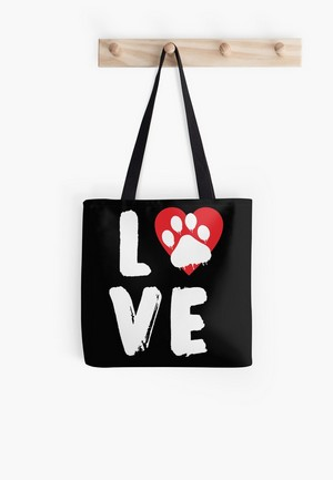 Dog Lovers Tote Bags Dog Gift Idea Red Paw Love Sign