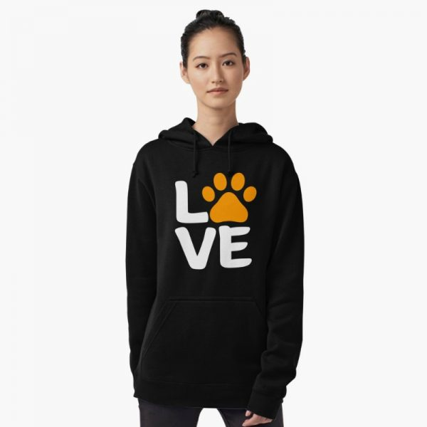 Dog Lover's Sweatshirts: Orange Love Paw Hoodie