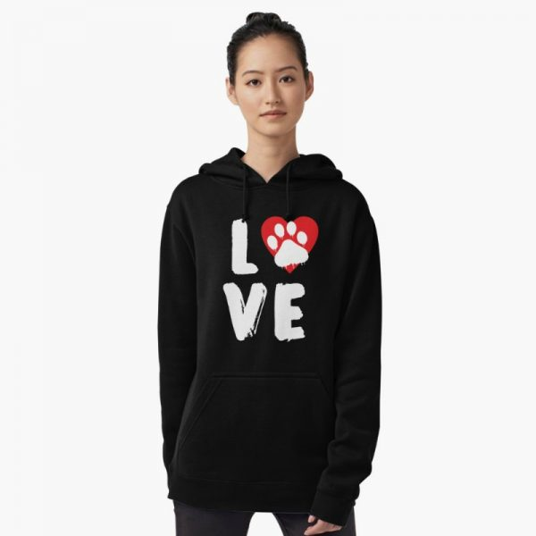 Love with Dog Paw & Red Heart Hoodie: dog lovers themed hoodie