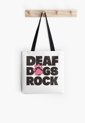 Dog Lovers Tote Bags Deaf Dogs Large Print