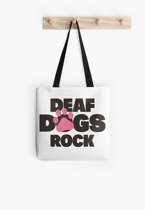 Dog Lovers Tote Bags Deaf Dogs Rock