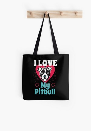 'I Heart My Pit Bull I Love My Dog Tee Shirt' Tote Bag by Dogvills