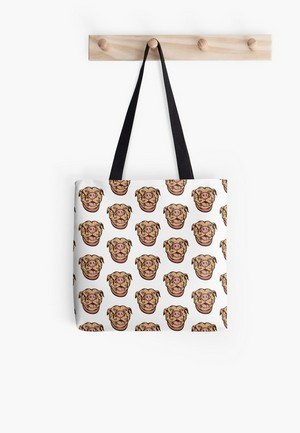Dog Lovers Tote Bags pit bull graphic drawing