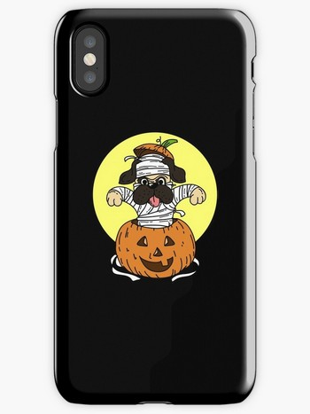 Dog Lovers iPhone Cases with saying with Dog and Halloween Mummy
