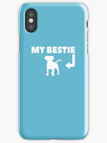 Dog Lovers iPhone Cases with saying: my bestie and dog picture