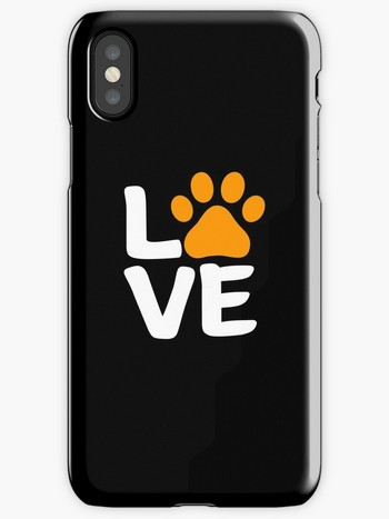 iPhone case with Halloween Themed Love sign with paw