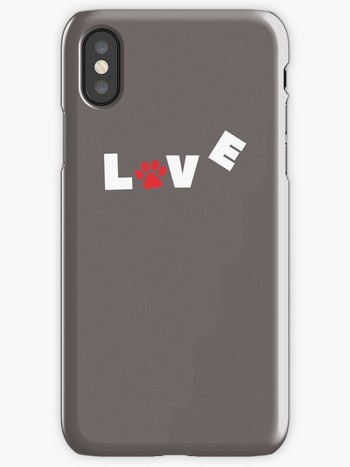 Dog Lovers iPhone Cases with Love sign and paw imprint