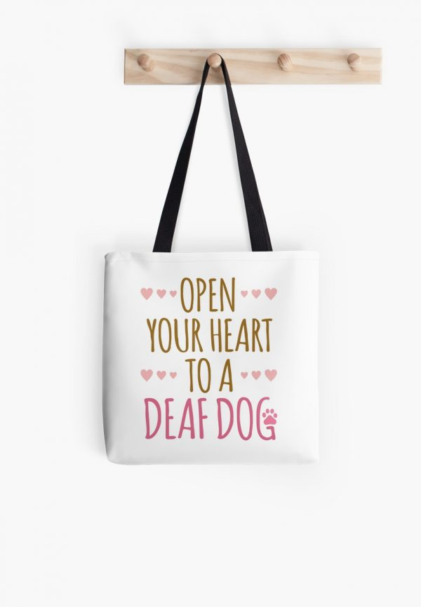 Open Your Heart to a deaf dog tote bag