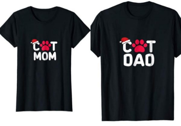 cat mom cat dad christmas shirts
