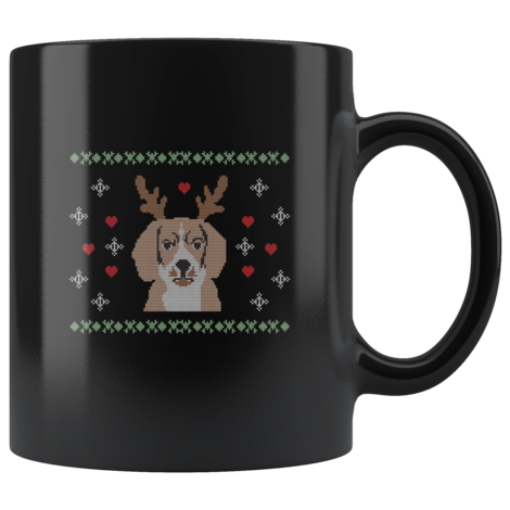 Beagle With Reindeer Ears Christmas mug