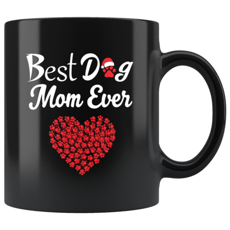 Best Dog Mom Ever Mug With A Christmas Hat Heart