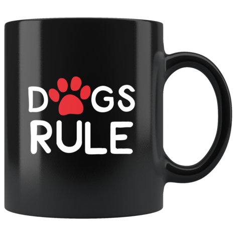 Cute Dogs Rule Coffee Mug With Red Paw Print