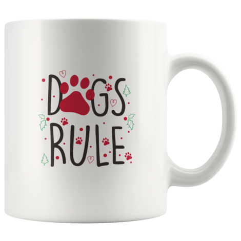 Dogs Rule Mug With Red Paw Print Christmas Trees