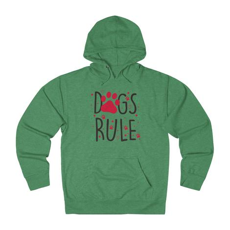 Funny Dogs Rule hoodie With Red Paw Print