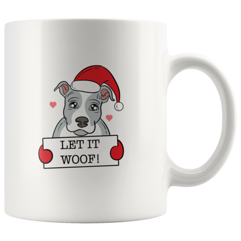 Goofy Christmas Pitbull Mugs for dog lovers Let It Woof