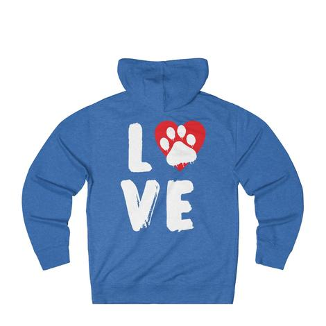 Love With Dog Paw Print Heart Hoodie