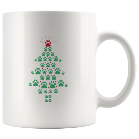 Super Cute Dog Paws Print Christmas Tree Mug