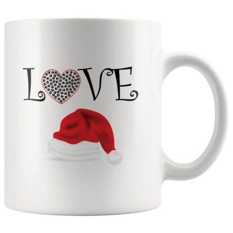 love with a dog paw and santa hat mug