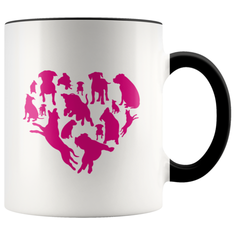 Heart With Pitbulls coffee mug: Funny Valentine's Day Gift For dog Lovers