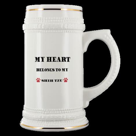 My Heart Belongs To My Shih-Tzu Ceramic Beer Stein Mug