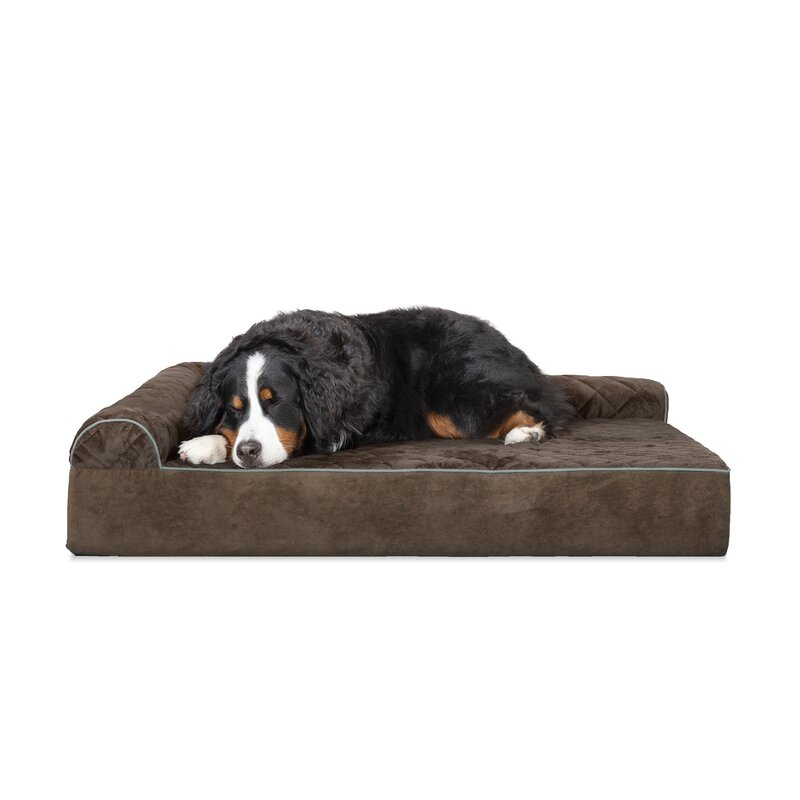 Griego Quilted L-Chaise Lounge Dog Bed
