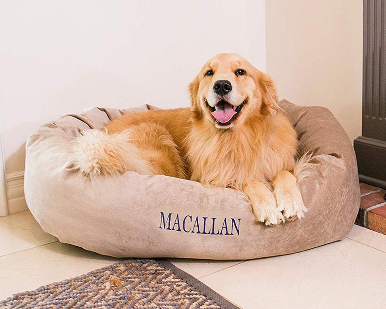 This image has an empty alt attribute; its file name is Personalized-Bagel-Style-Dog-Bed.jpg